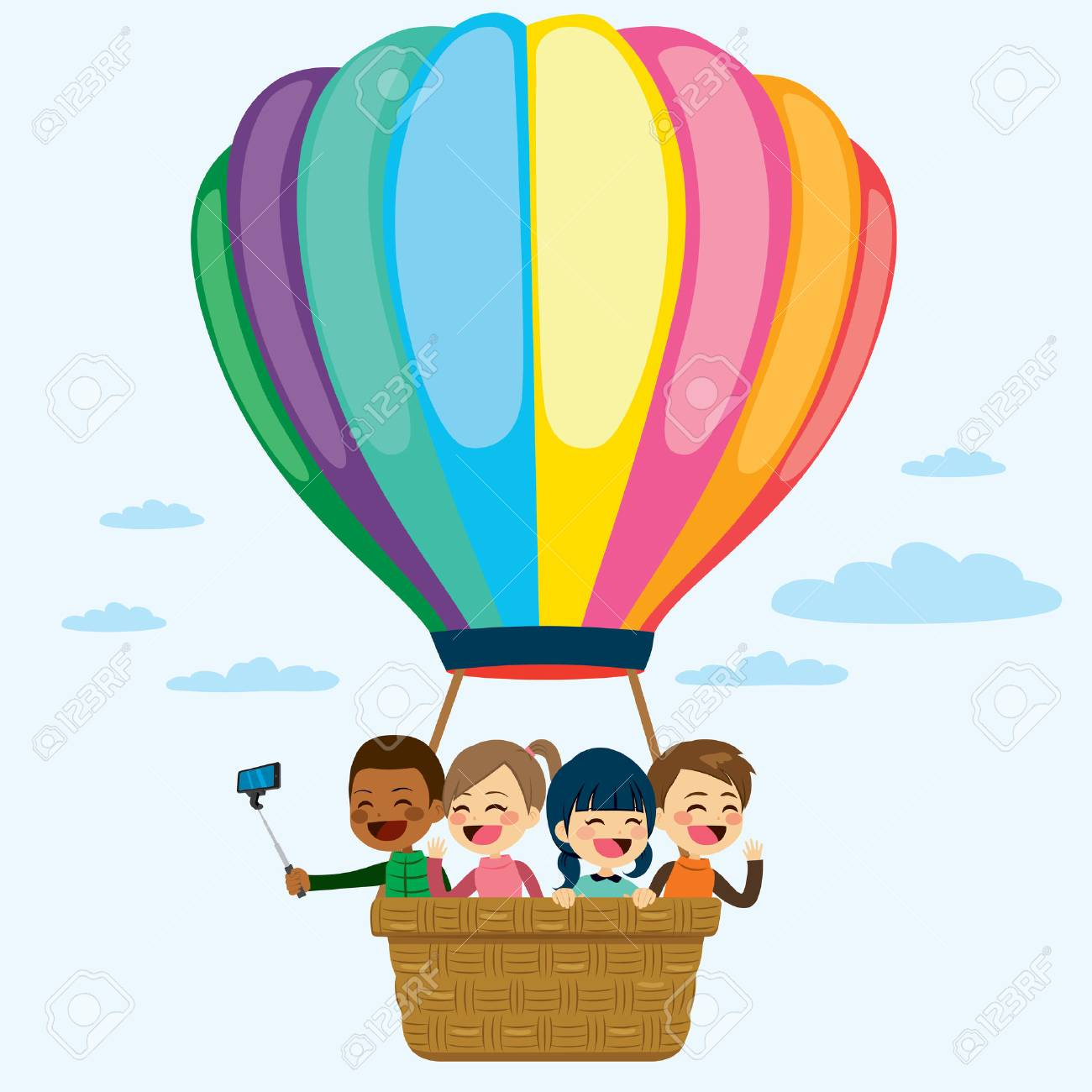 Happy little children flying on colorful hot air balloon.