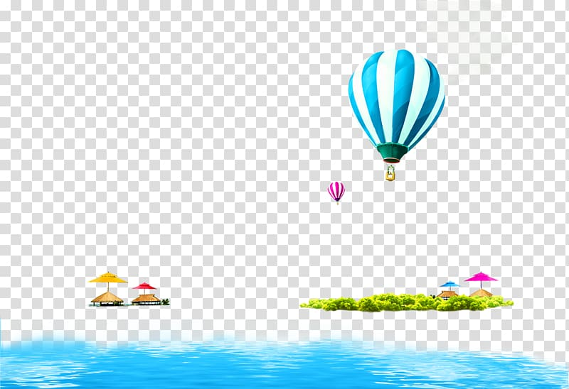 Hot air balloons, island, and body of water illustration.