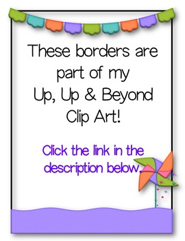Up Up & Away BORDERS Clip Art ~ Hot Air Balloon ~ Rainbow ~ Spring.