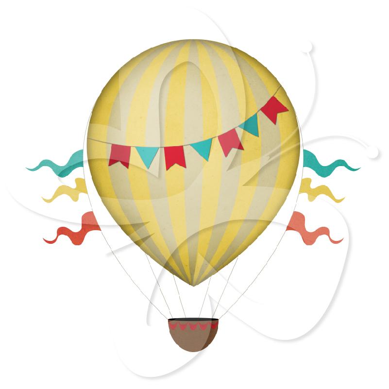 Vintage Hot Air Balloon Clip Art.