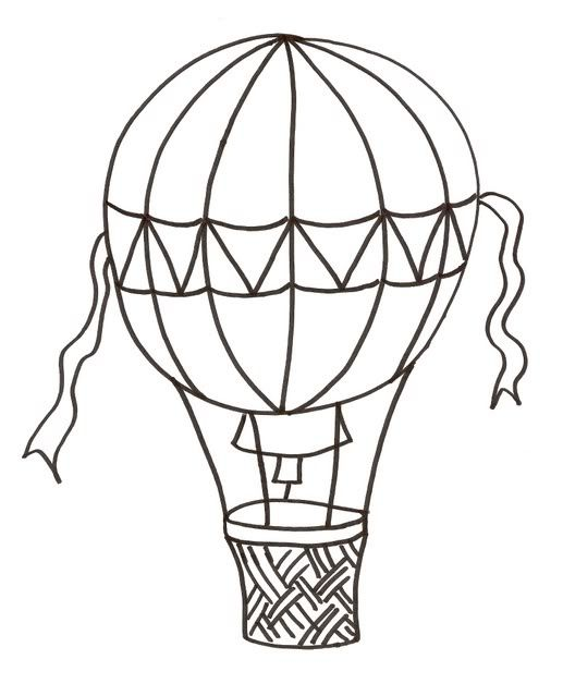 Hot air balloon black and white hot air balloon clipart black and.