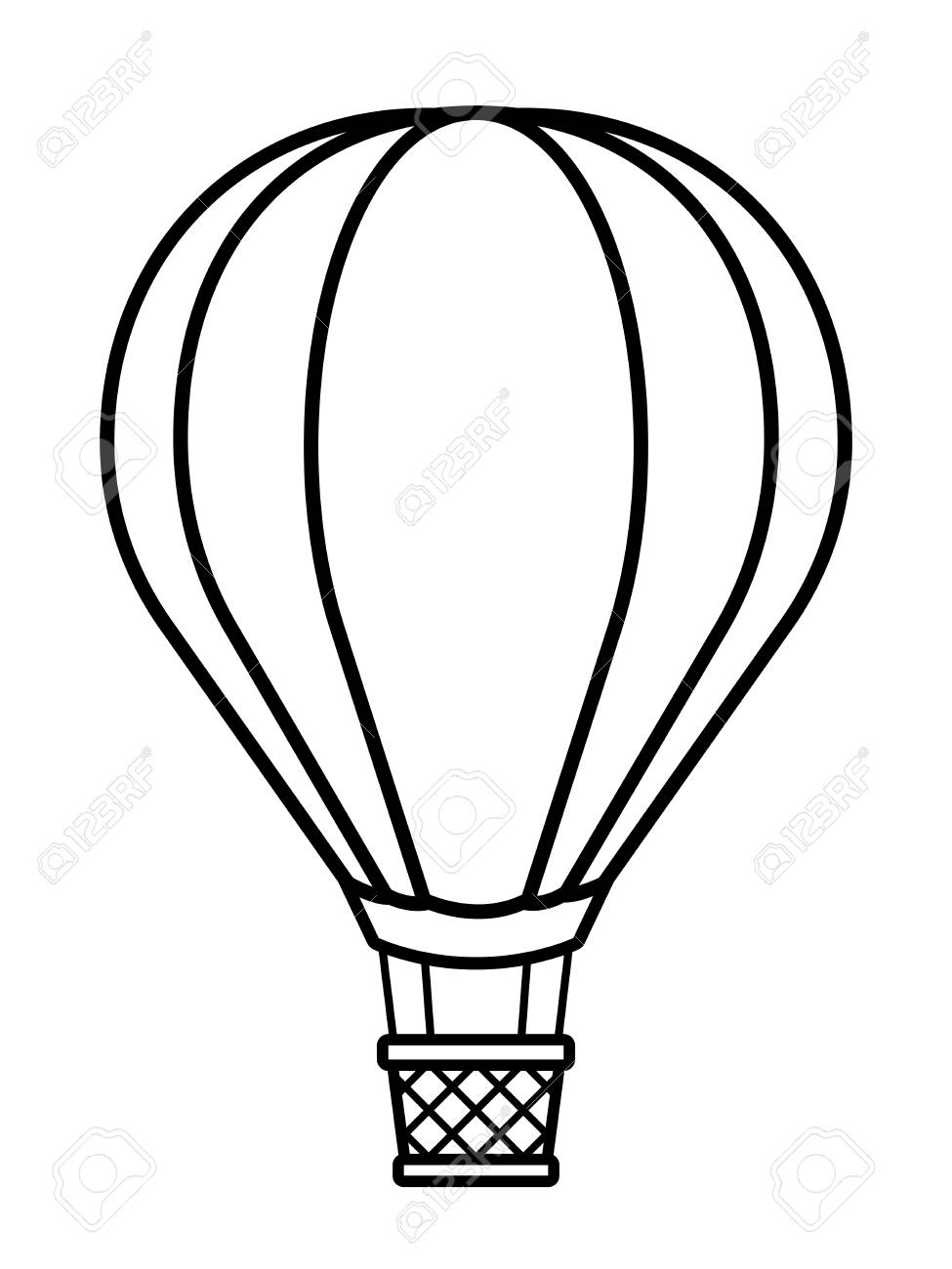 Vector illustration of silhouette hot air balloon over white...