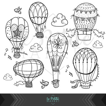 Hot Air Balloon Line Clip Art, Hot Air Balloon Clip Art Outlines, Digital  Stamps.