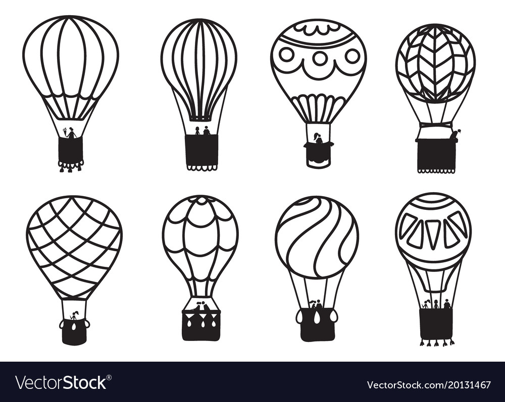 Set of outline hot air balloons.