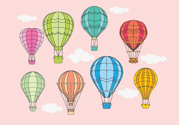 Vintage Hot Air Balloons Design Vectors.