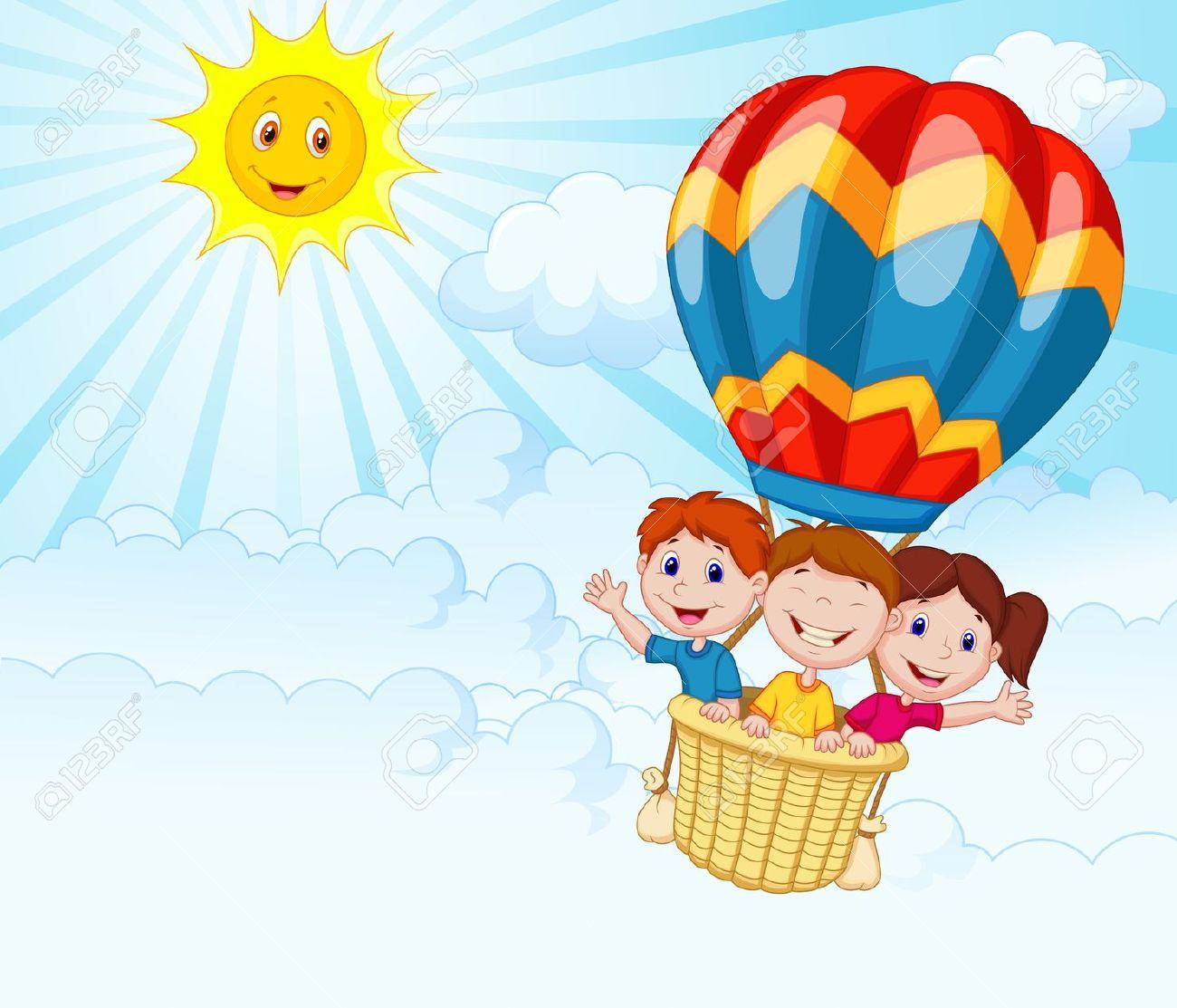 Happy Kids Riding A Hot Air Balloon Royalty Free Cliparts, Vectors.