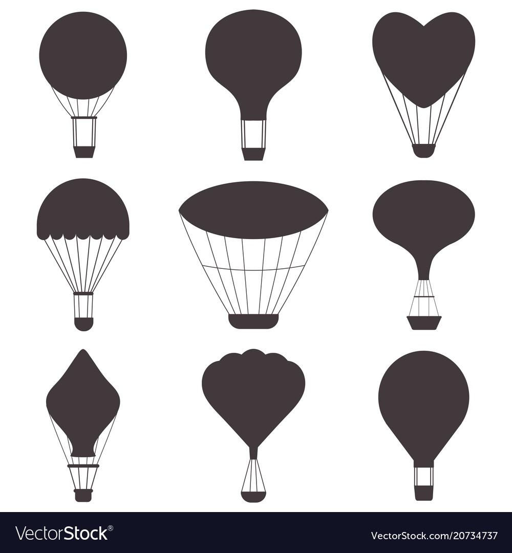 Hot air balloons silhouettes.