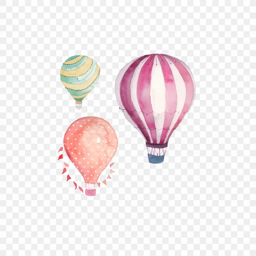 Hot Air Balloon Watercolor Painting Clip Art, PNG.