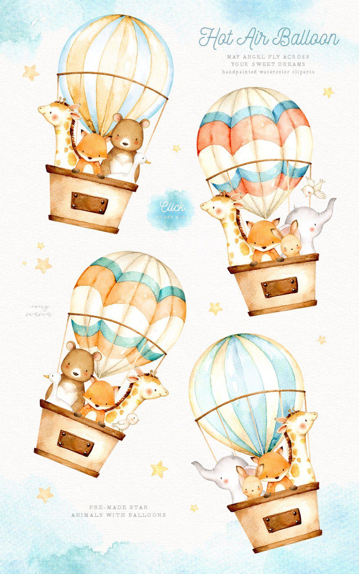 Hot Air Balloon Watercolor Clipart, Elephant Clipart, Moon.