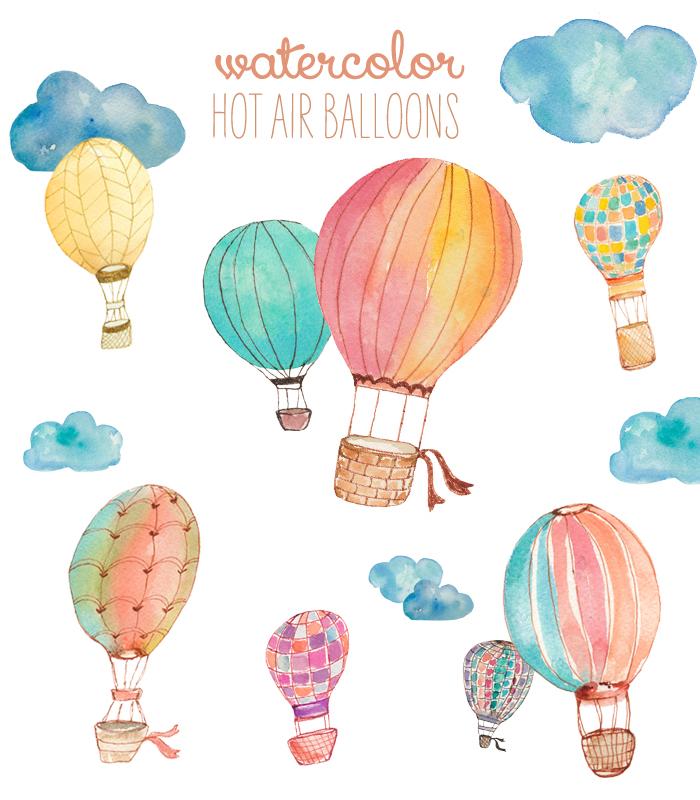 Watercolor Clip Art Hot Air Balloons.