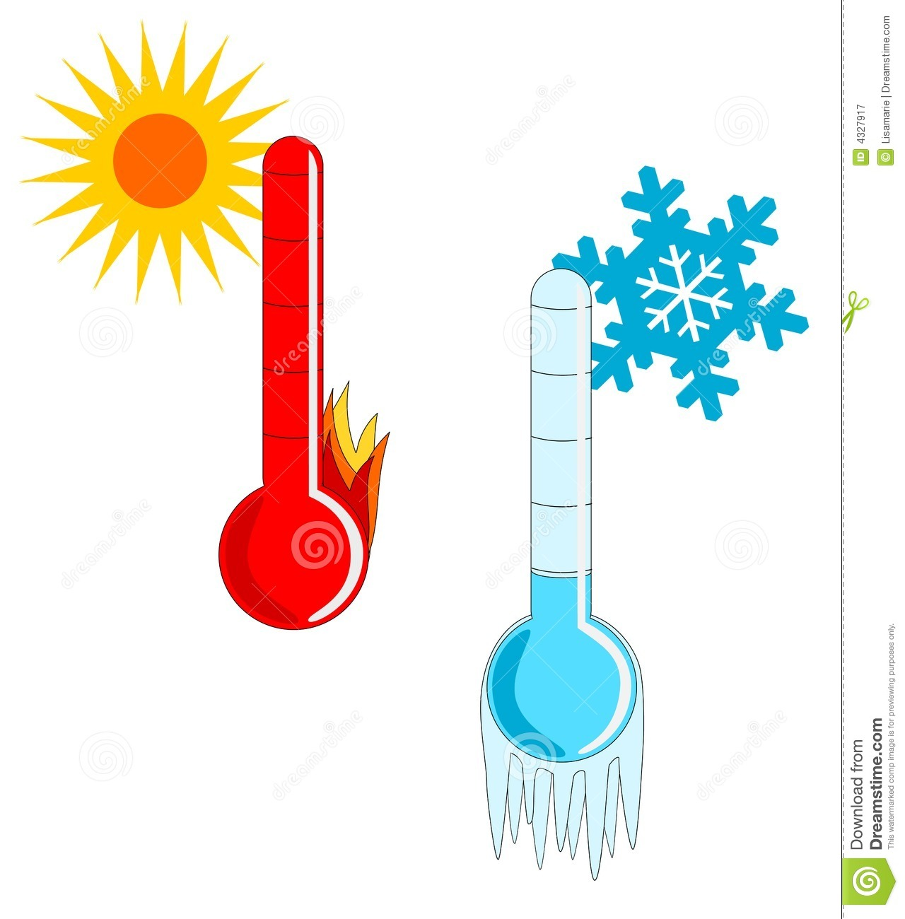 Hot and Cold Thermometer Clipart.