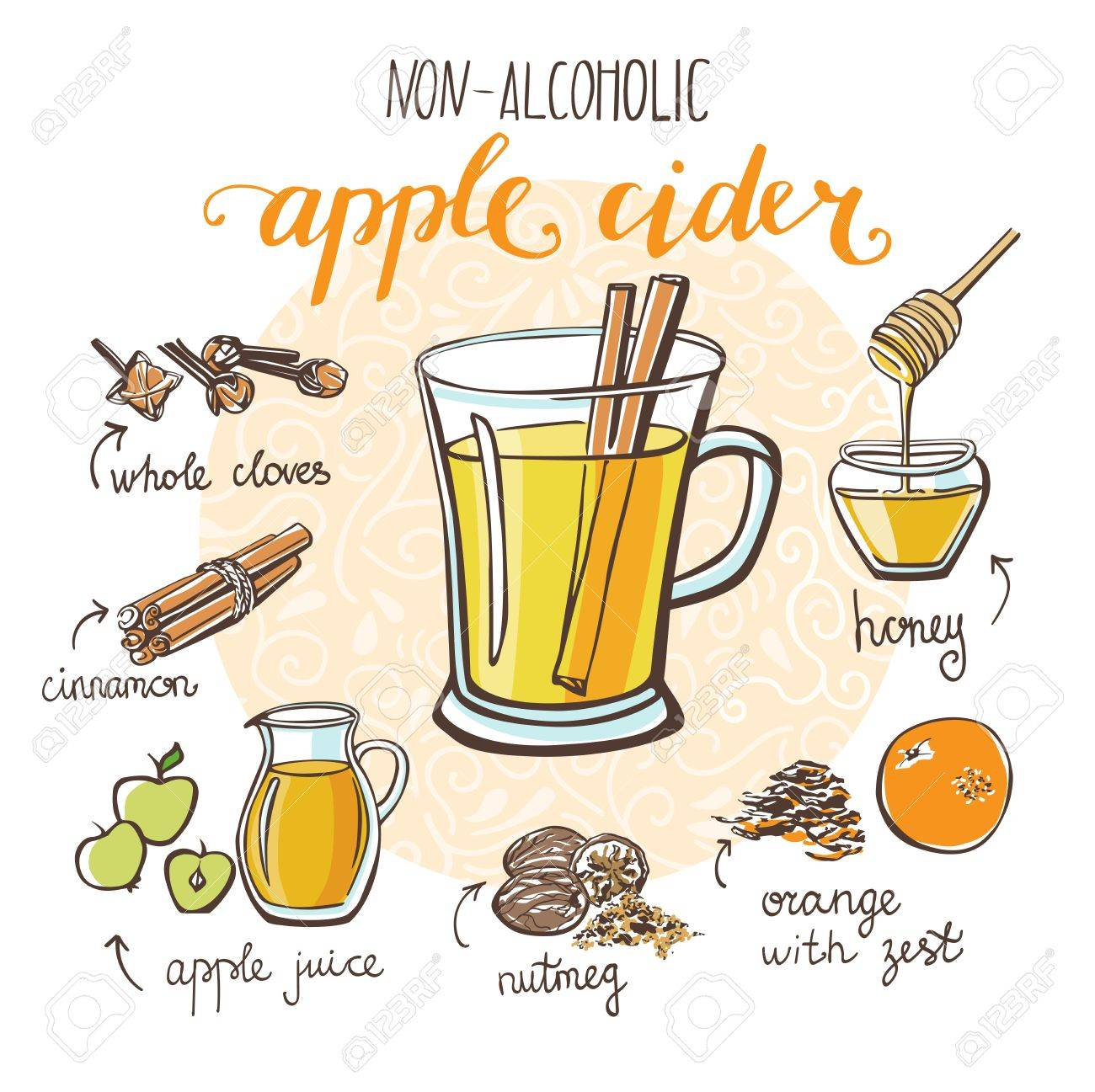 Vector illustration with soft hot drink Apple cider. Hand drawn...