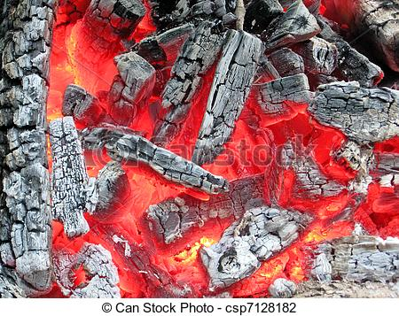 Stock Photo of campfire with hot coal, fire closeup.