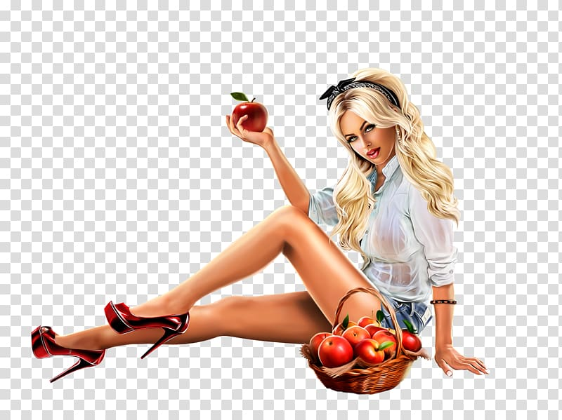 Woman holding apple near basket of apples illustration, Pin.