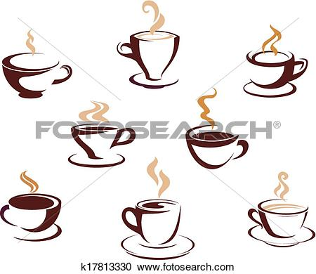 Clipart of Set of steaming cups of hot beverages k17813330.
