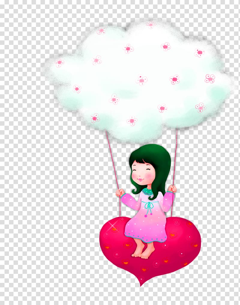 Girl Love Child, Green cartoon hot air balloon girl.