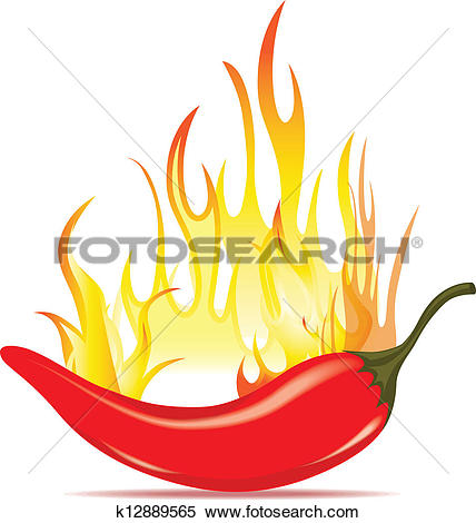 Clipart of Hot chilli pepper in fire k12889565.