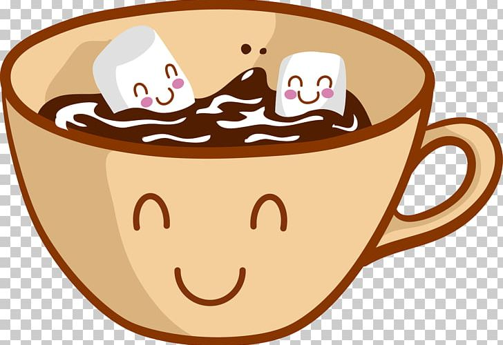 Hot Chocolate Chocolate Chip Cookie Cartoon Marshmallow PNG.
