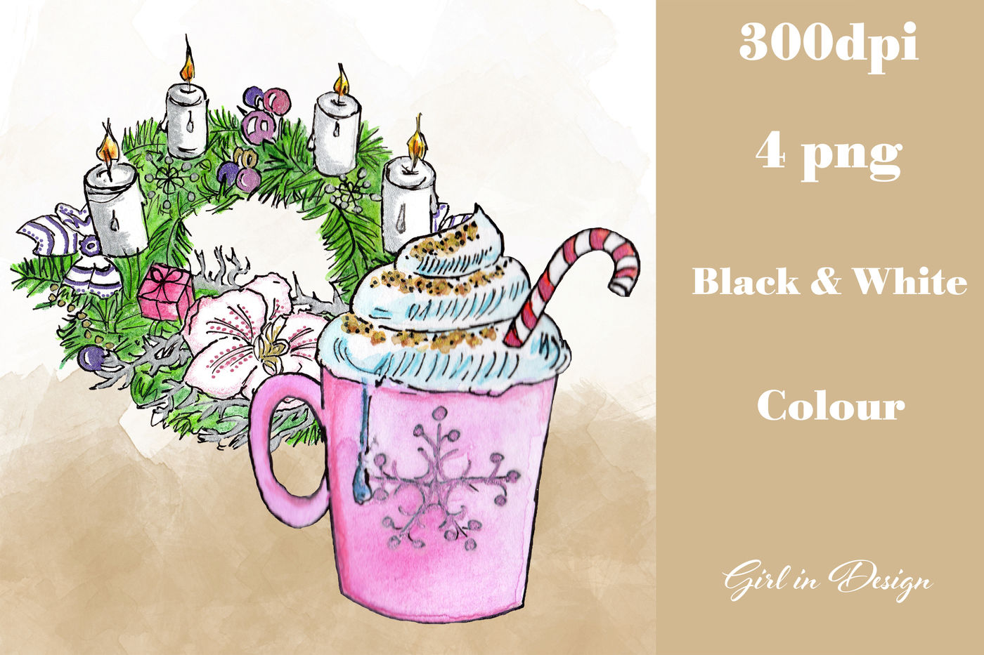 Christmas Wreath and Hot Chocolate Clipart By Girl in Design.