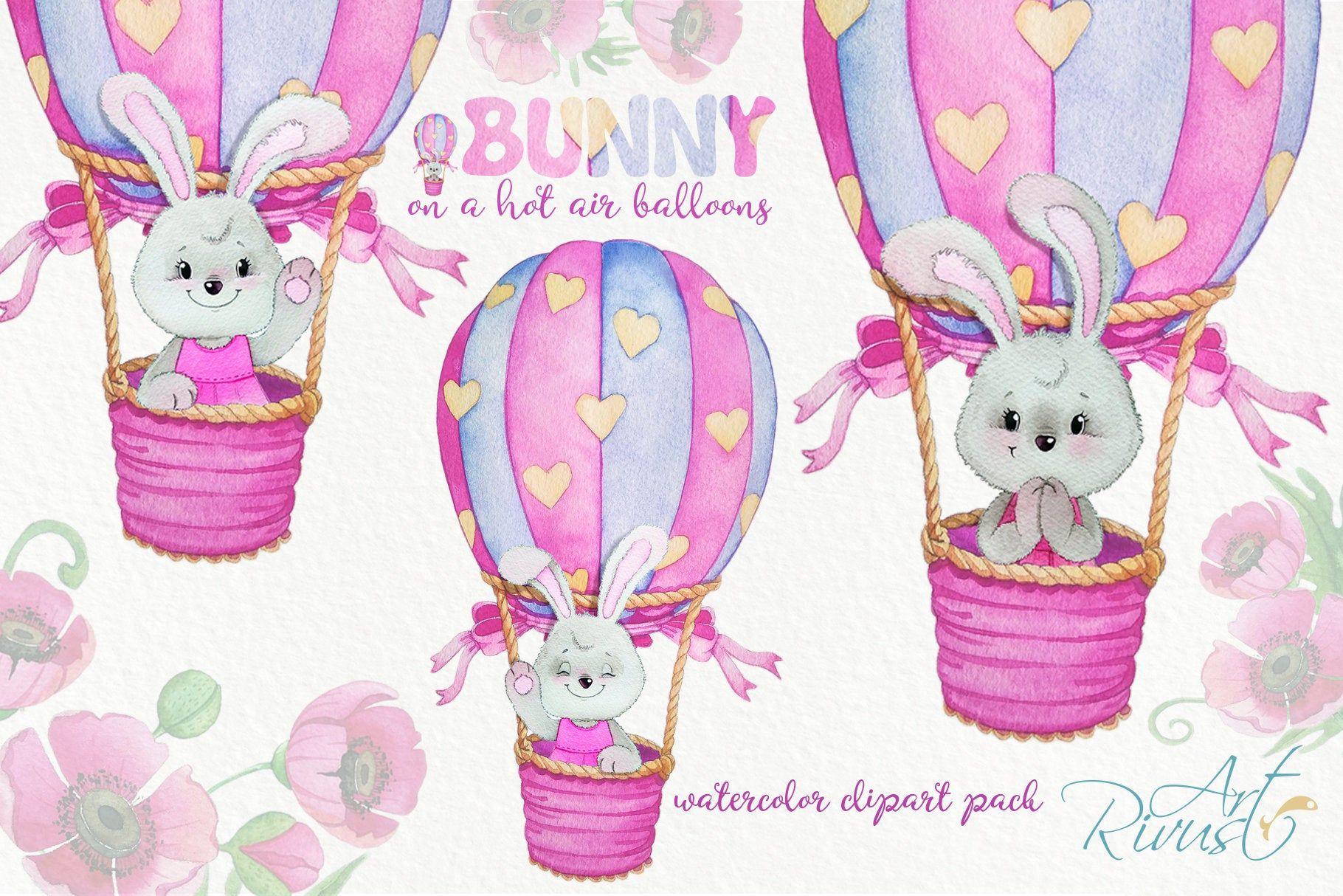 Hot air balloons clipart Cute watercolor bunny clip art DIY.