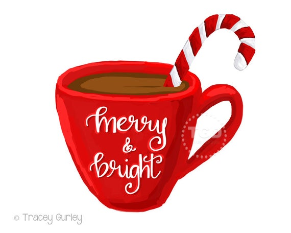 Merry and Bright hot cocoa clipart, coffee cup clipart, calligraphy mug,  Christmas clipart, instant download.