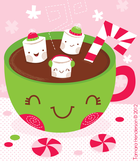Hot Chocolate & Marshmallows. Illustration by Tamara.
