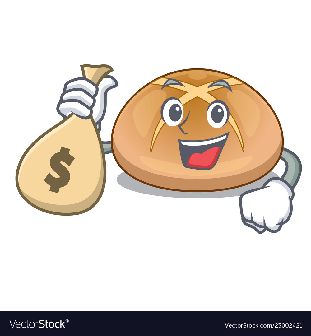 With money bag hot cross buns on cutting cartoon.