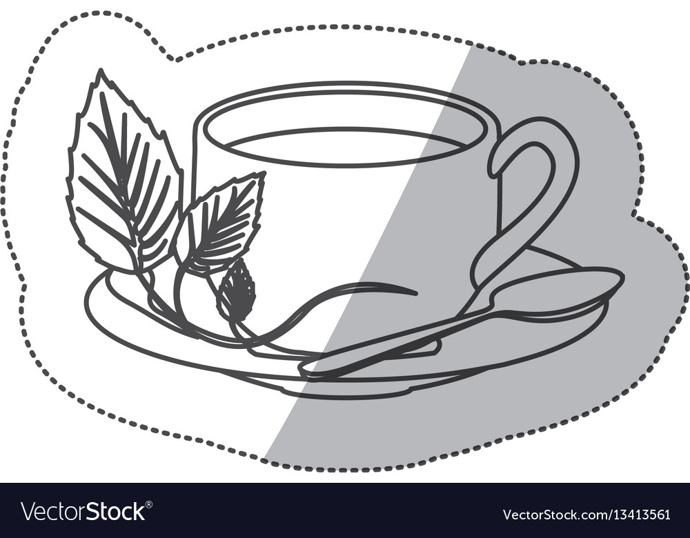 Sticker grayscale contour of hot cup of tea.