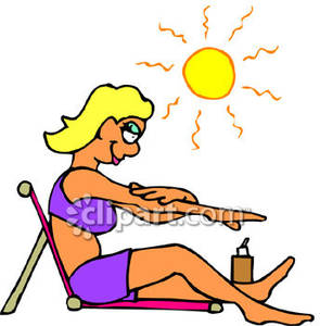 Woman Sunbathing on a Hot Day Royalty Free Clipart Picture.