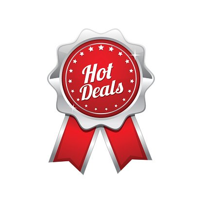 Hot Deals Red Vector Icon Design Clipart Image.