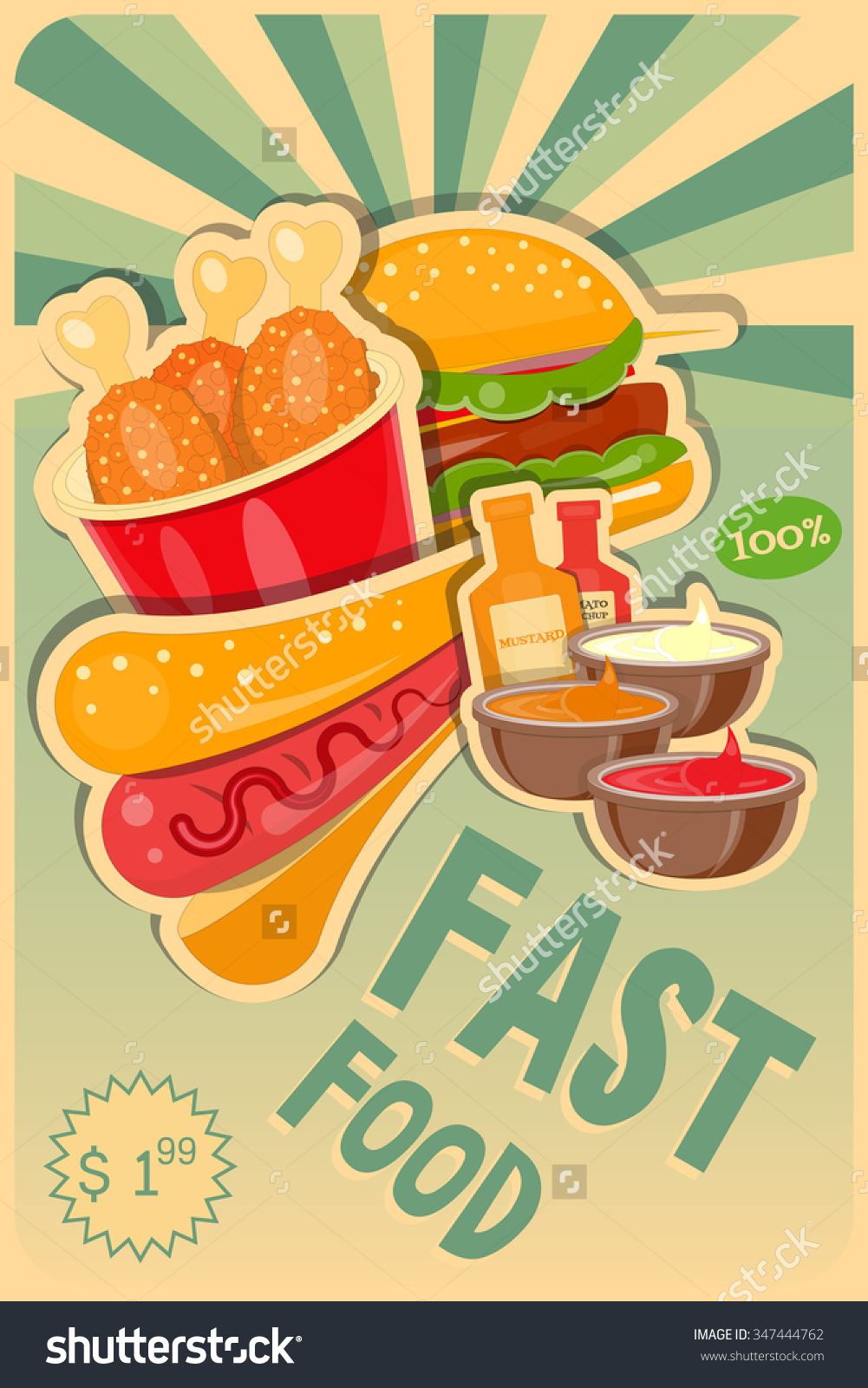 Fast Food Poster Burgers Hot Dog Stock Vector 347444762.