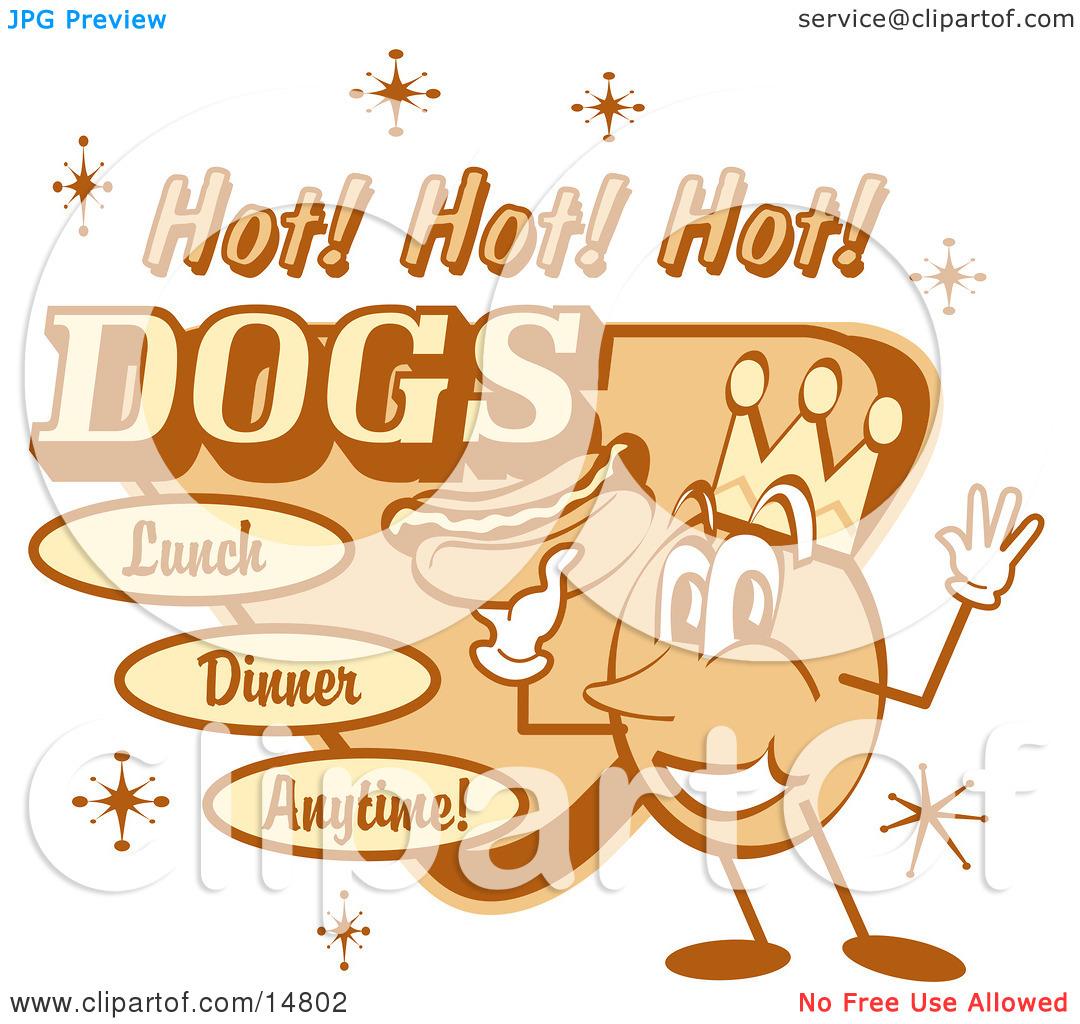 Vintage Hot Dog Advertisement Showing A Circular King Character.