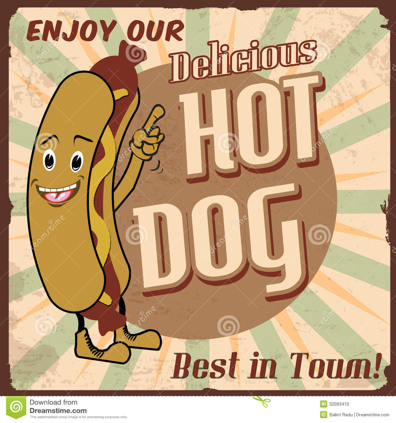 Hot Dog Poster Stock Photo.