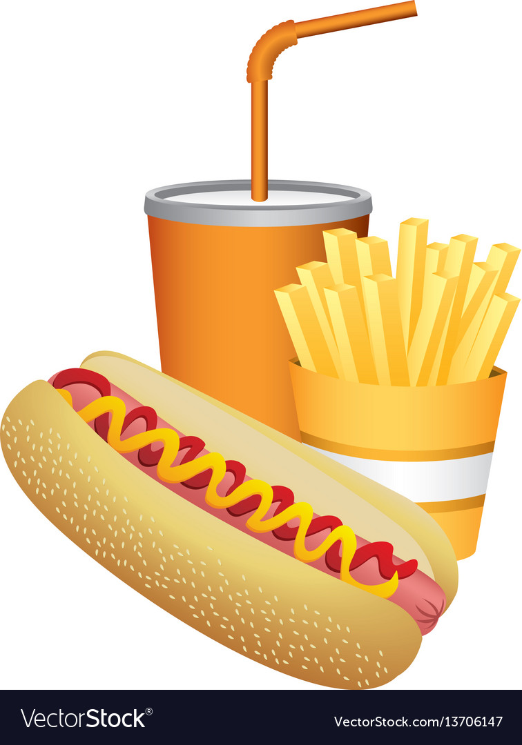Hot dog fries french and soda food.