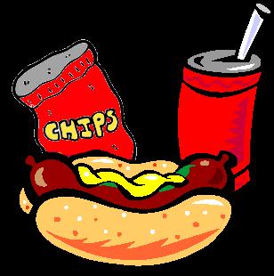 Hot Dog Chips Soda Clipart.