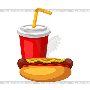 With fast food meal. Soda and hot dog.