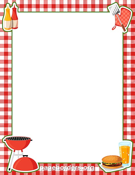 Red and white frame, Barbecue Hot dog Picnic , BBQ Border.