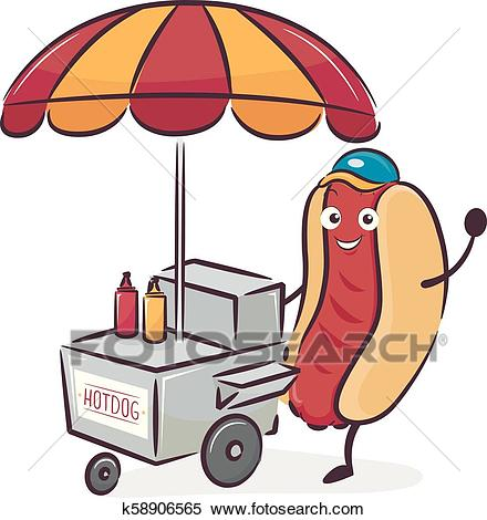 Mascot Hotdog Cart Vendor Illustration Clipart.