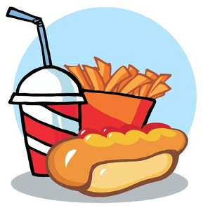 Hot dog chips and drink clipart.