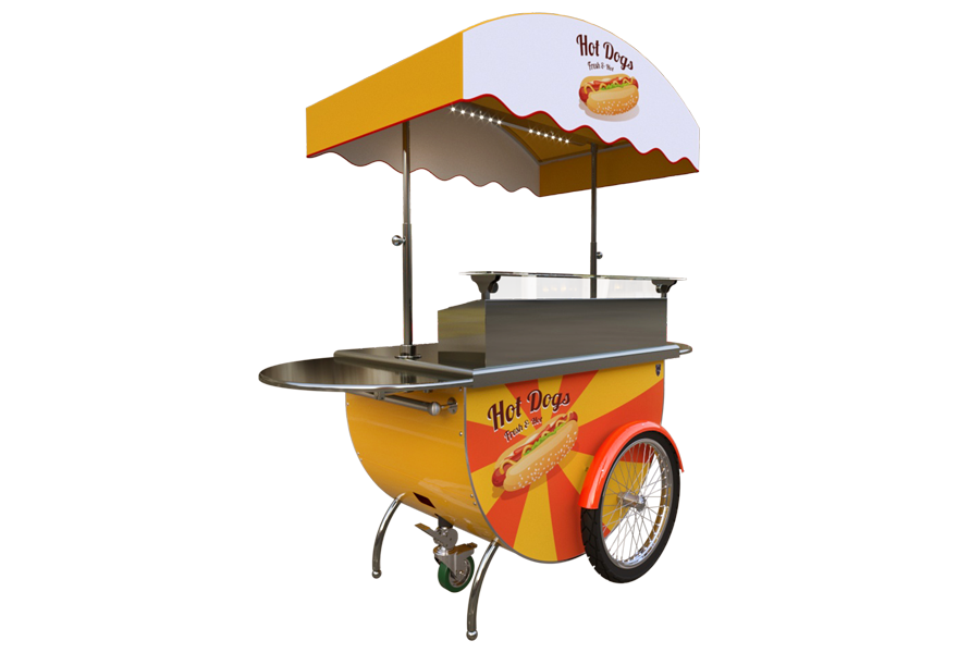 Discover the food cart designed to sell and serve hot dog and steaks.
