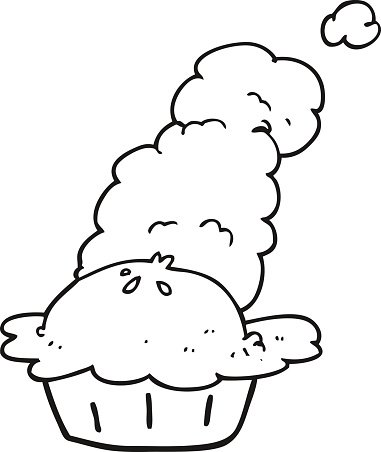 black and white cartoon hot pie Clipart Image.