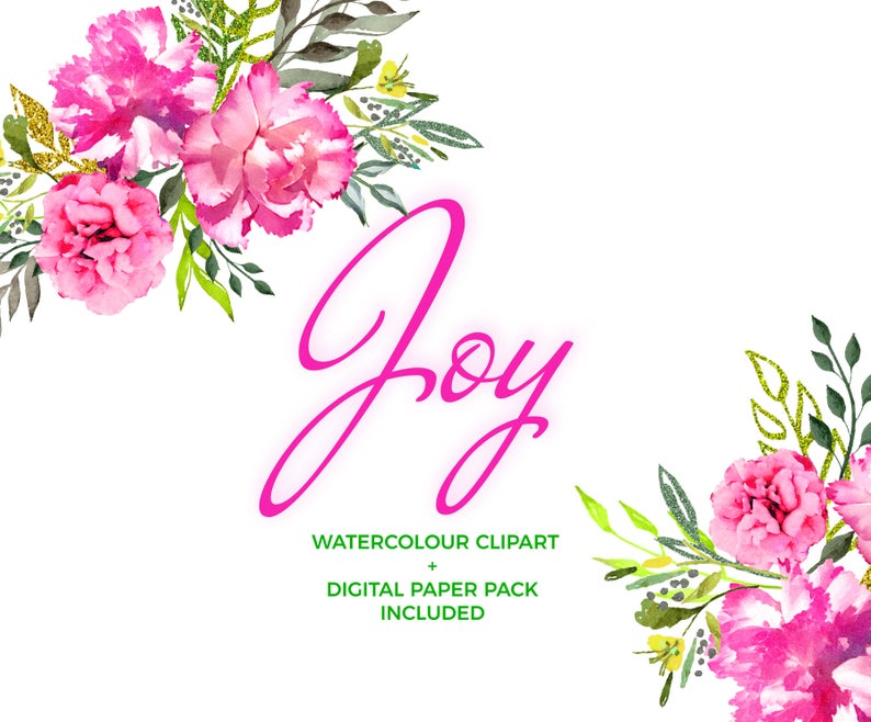 Joy Watercolor Flower Clipart Set, Seamless Digital Paper Pack, Seamless  Patterns, wild hot pink rose,Instant Download, Flowers, Watercolor.