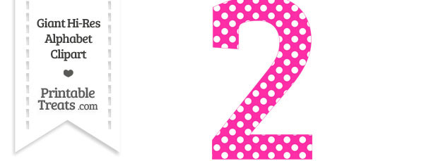 Pink Number 2 Clipart.