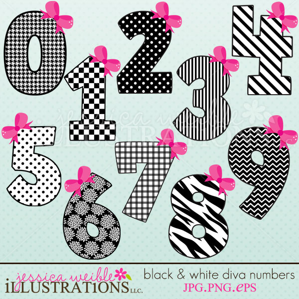 Black & White Diva Numbers clipart set comes with 10 cute graphics.