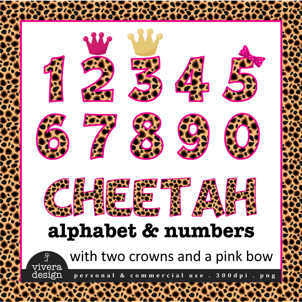 Cheetah Patterned Letters and Numbers Clip Art with Hot Pink.