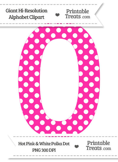 Hot Pink Polka Dot Number 0 Clipart — Printable Treats.com.