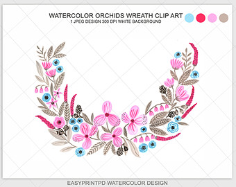 Floral Numbers Print Watercolor clipart Number six watercolor.