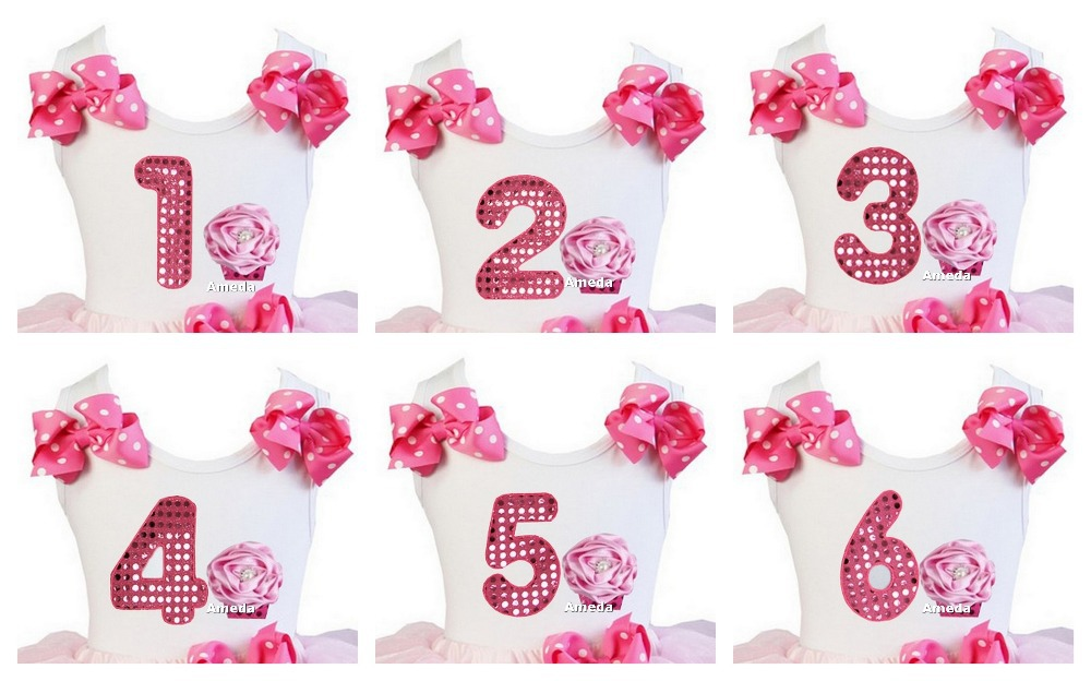 Aliexpress.com : Buy Girl Bling Hot Pink Number 1 2 3 4 5 6.