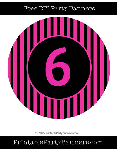 Pink and Black Circle Striped Number 6.