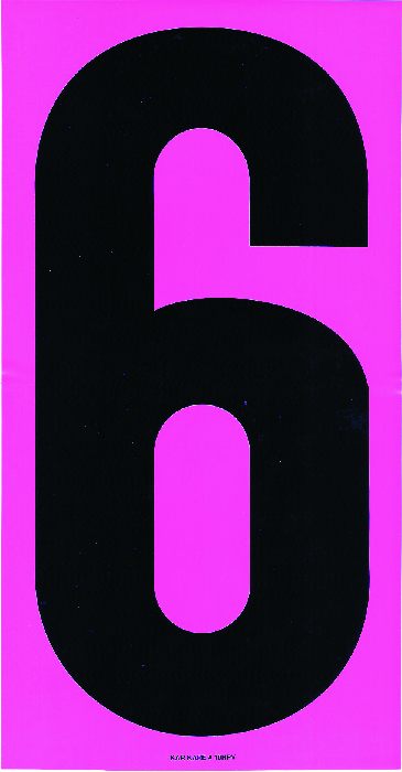 """9.5″ Hot Pink and Black Windshield Numbers """"6""""—."""